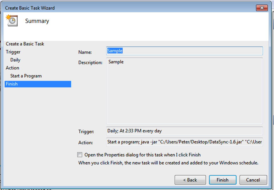 Scheduling a DataSync Update Job Using Windows Task