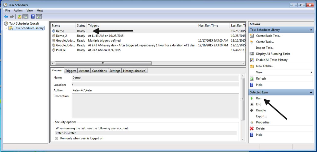 Scheduling a DataSync Update Job Using Windows Task